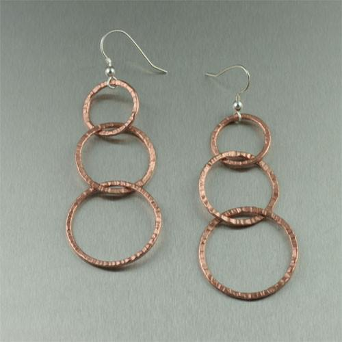 Earrings - Chased Copper Earrings