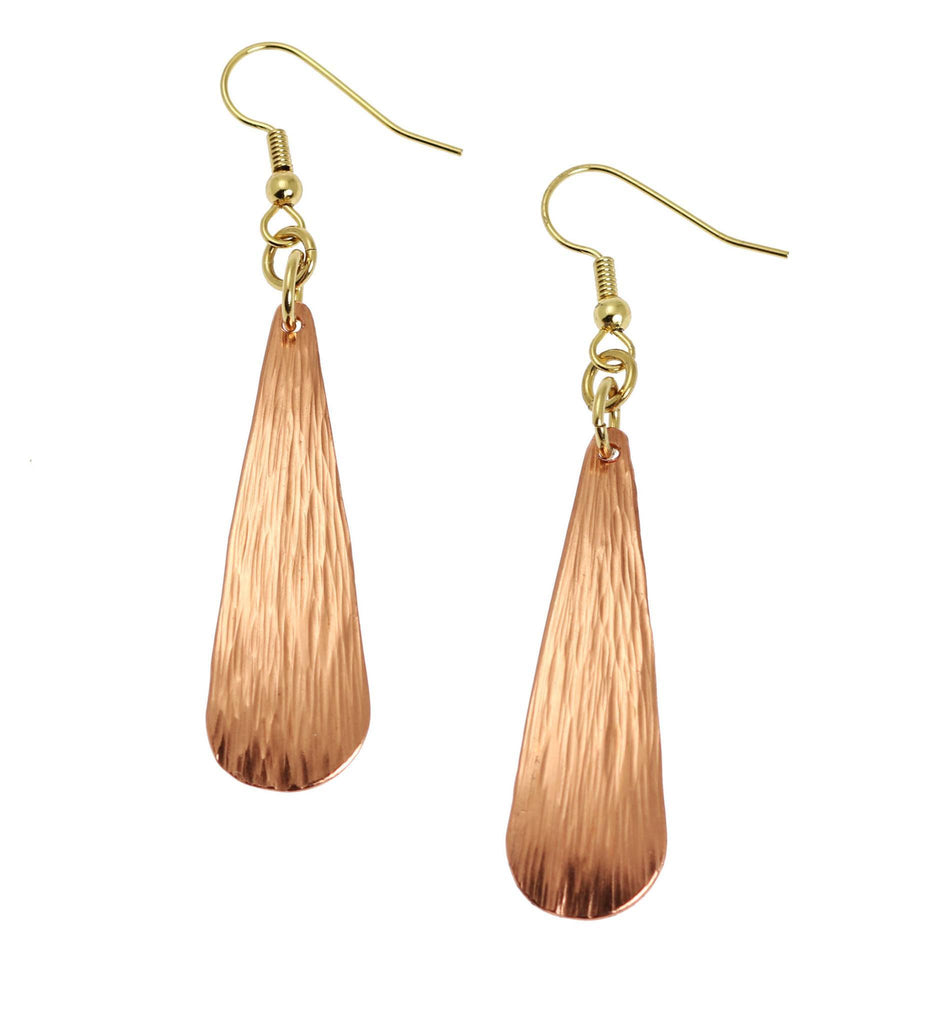 Chased Copper Long Tear Drop Earrings - Copper Earrings - johnsbrana - 1