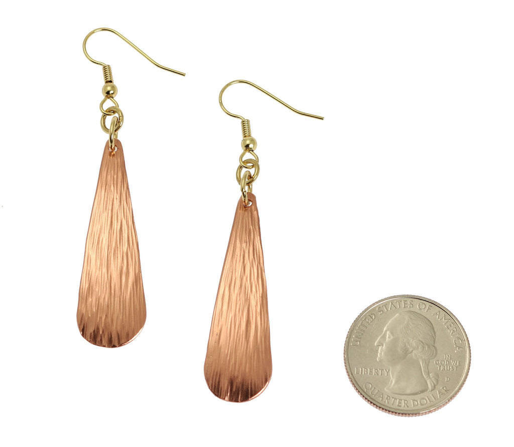 Chased Copper Long Tear Drop Earrings - Copper Earrings - johnsbrana - 2