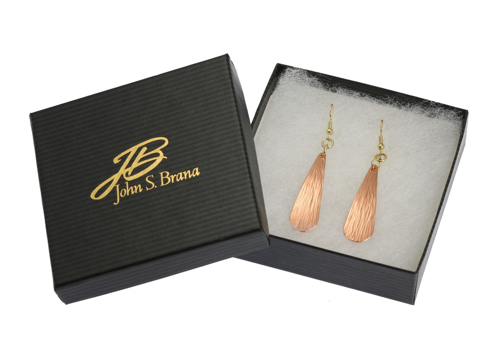 Earrings - Chased Copper Long Tear Drop Earrings - Copper Earrings