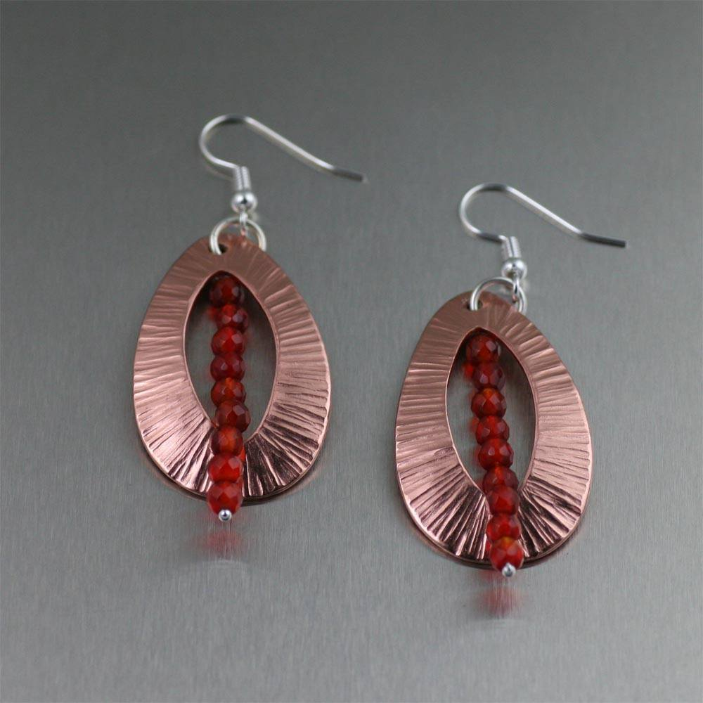 Chased Copper Tear Drop Earrings with Carnelian - johnsbrana