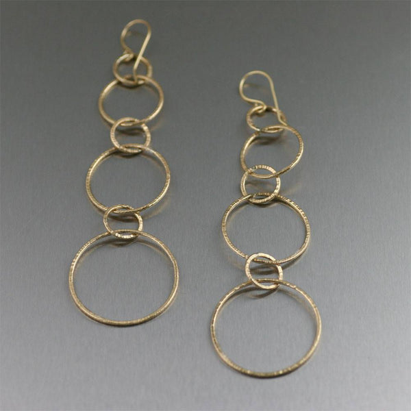 Chased Nu Gold Brass Dangle Earrings - johnsbrana - 1