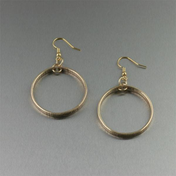 Chased Nu Gold Hoop Earrings - Small - johnsbrana - 1