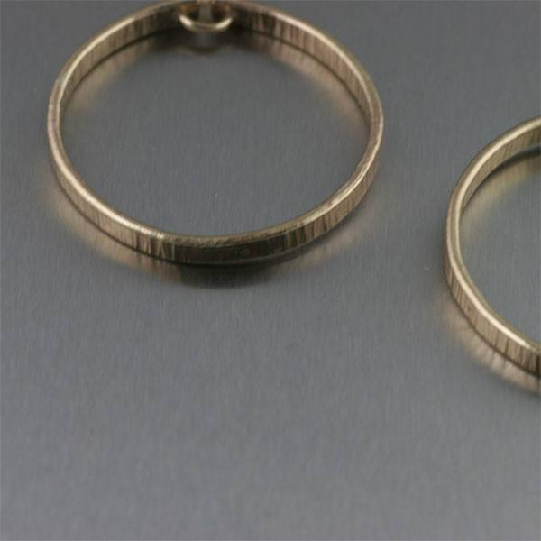Chased Nu Gold Hoop Earrings - Small - johnsbrana - 2
