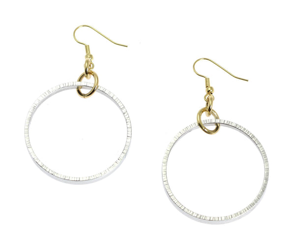 Chased Rim Aluminum Hoop Earrings - johnsbrana - 1