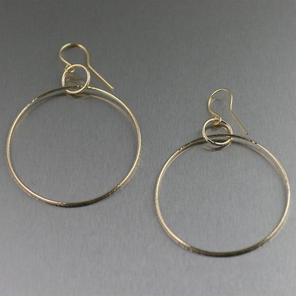 Chased Rim Nu Gold Brass Hoop Earrings - johnsbrana - 1