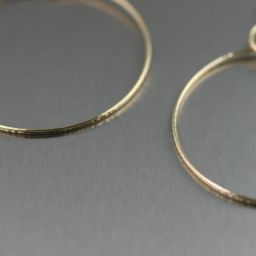 Chased Rim Nu Gold Brass Hoop Earrings - johnsbrana - 2