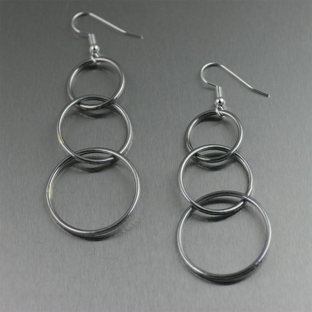 Chased Rim Stainless Steel Three Tiered Chandelier Earrings - johnsbrana - 1