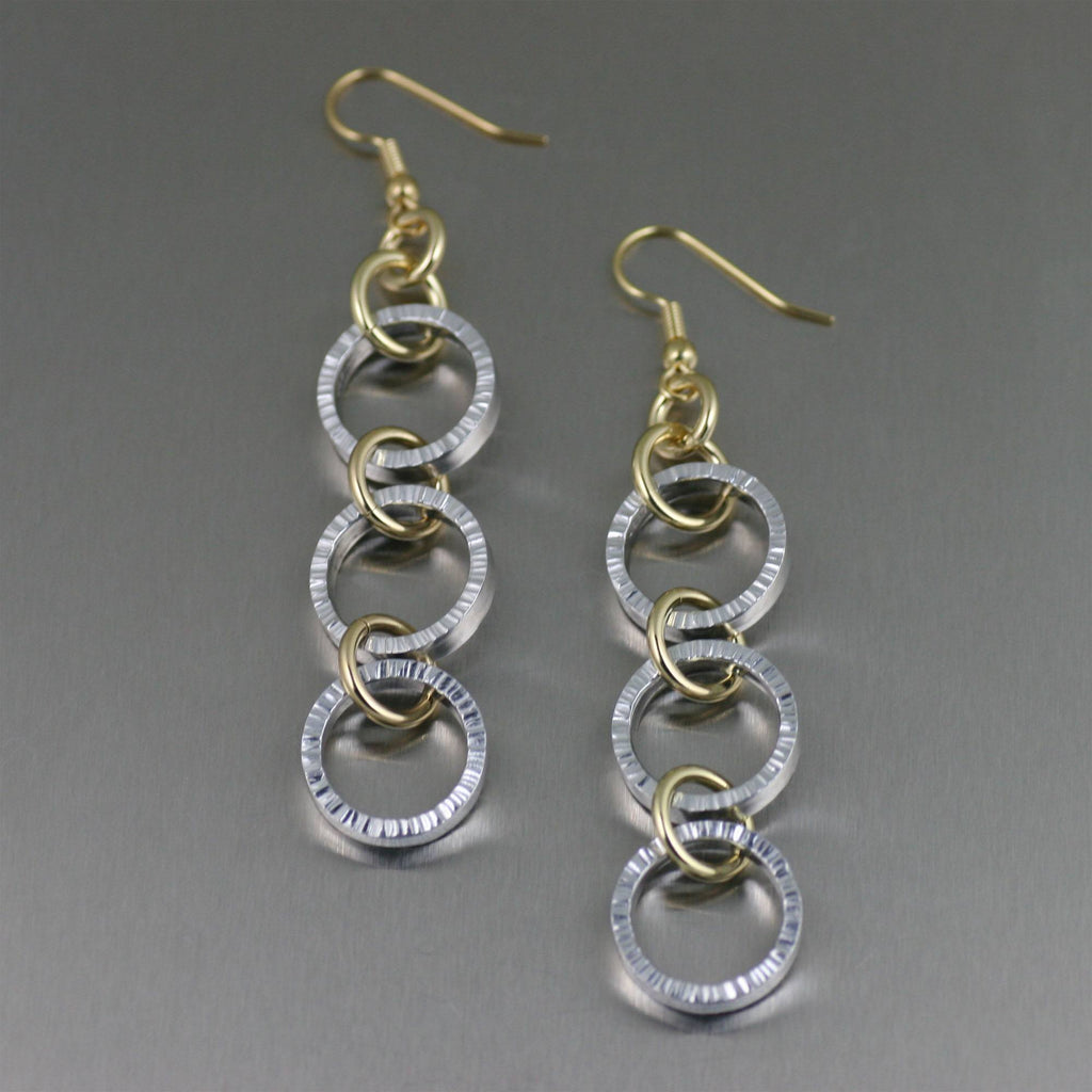 Chased Three-tiered Aluminum Dangle Earrings - johnsbrana - 1