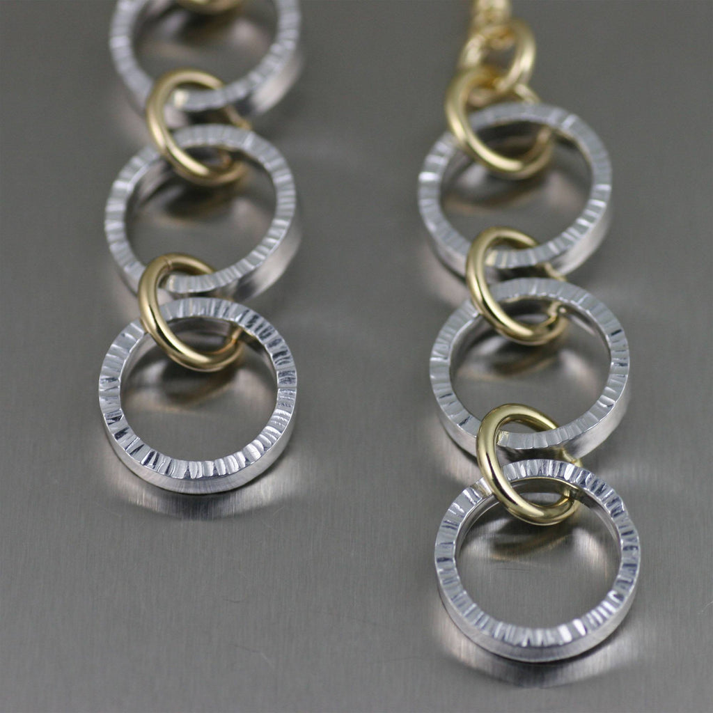 Chased Three-tiered Aluminum Dangle Earrings - johnsbrana - 2