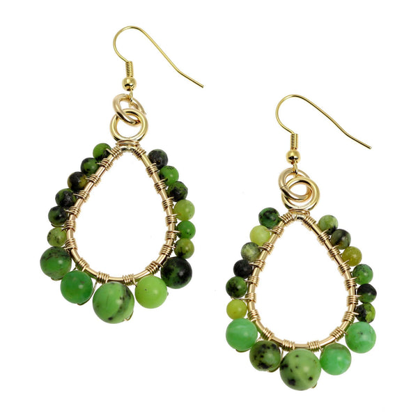 Chrysoprase 14K Gold-Filled Tear Drop Earrings - johnsbrana - 1