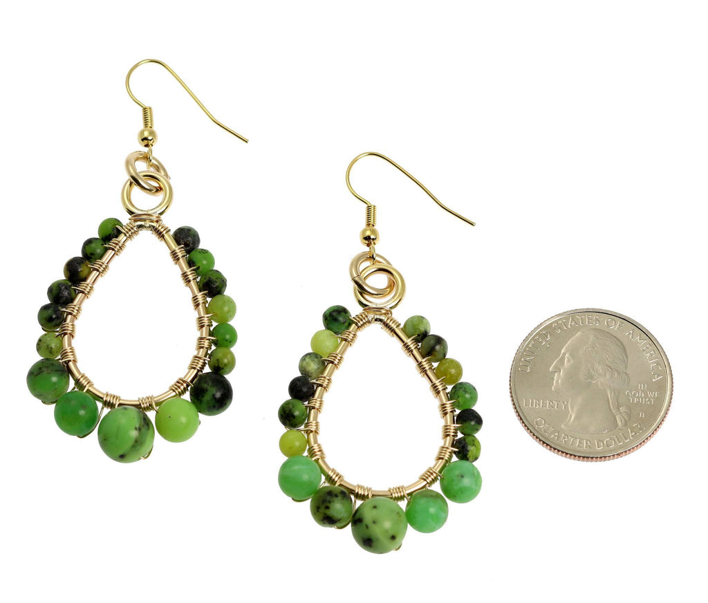 Chrysoprase 14K Gold-Filled Tear Drop Earrings - johnsbrana - 2