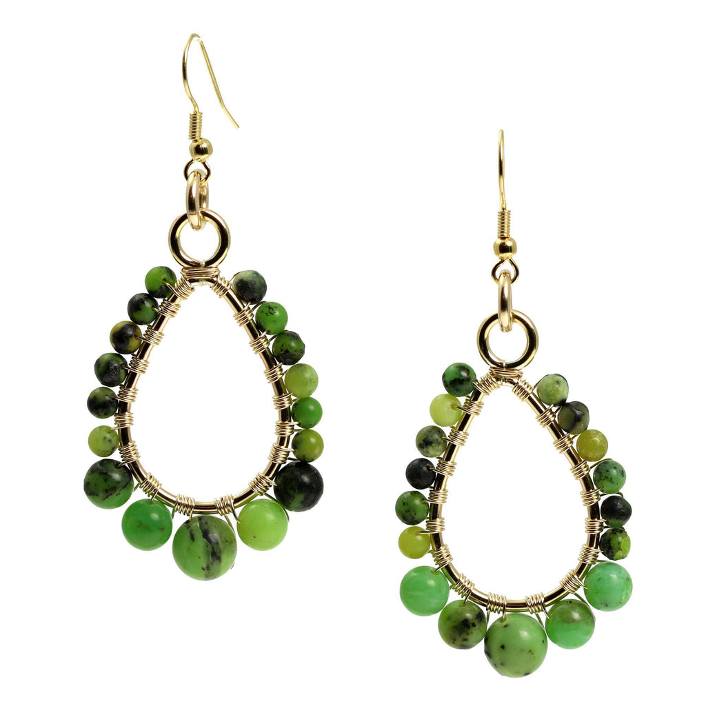 Chrysoprase 14K Gold-Filled Tear Drop Earrings - johnsbrana - 3