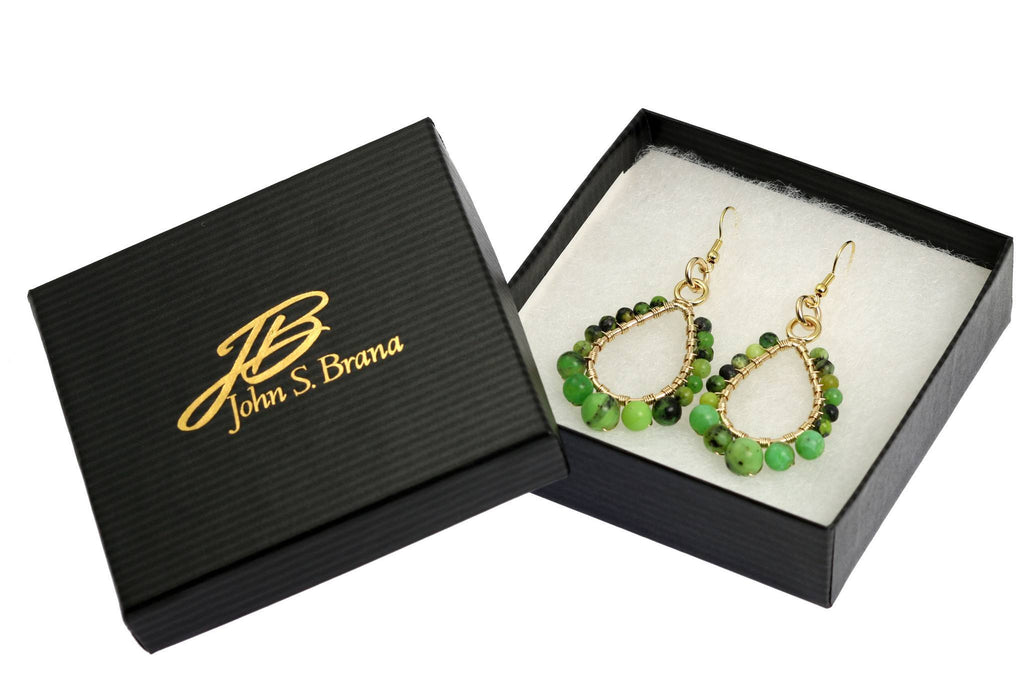 Chrysoprase 14K Gold-Filled Tear Drop Earrings - johnsbrana - 4