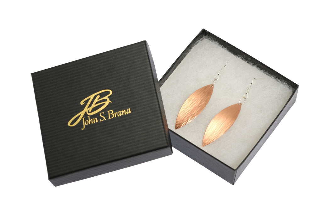 Earrings - Copper Bark Leaf Drop Earrings
