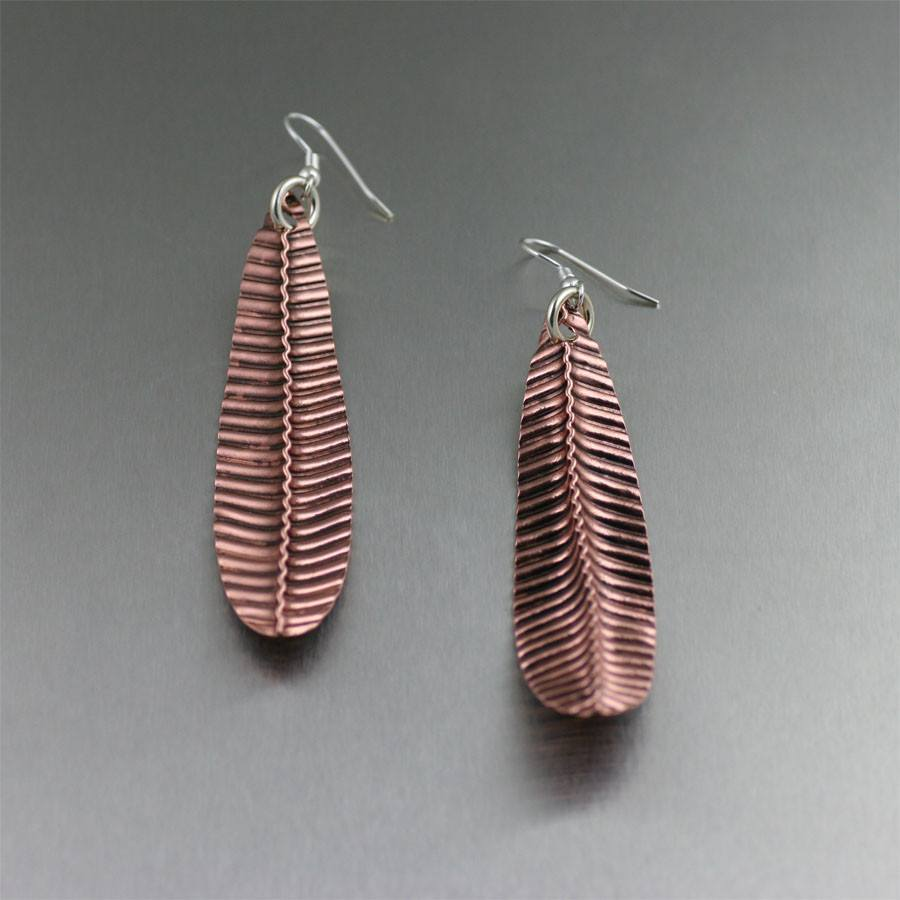 Copper Drop Leaf Earrings - johnsbrana - 2