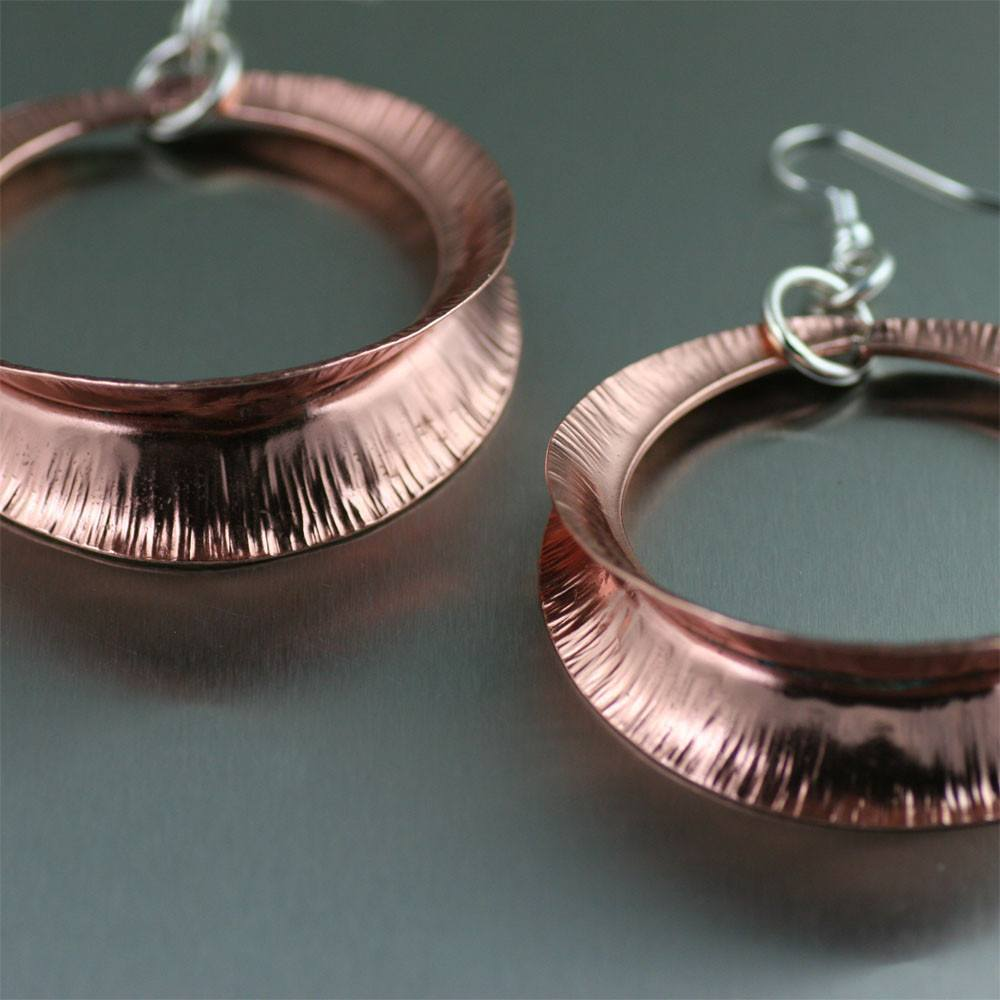 Earrings - Copper Fold Formed Shell Earrings