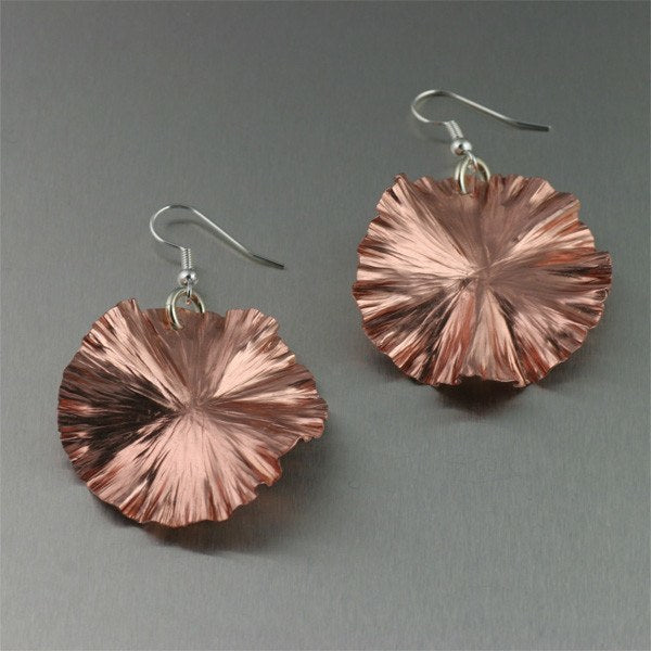 Earrings - Copper Lily Pad Earrings - Medium