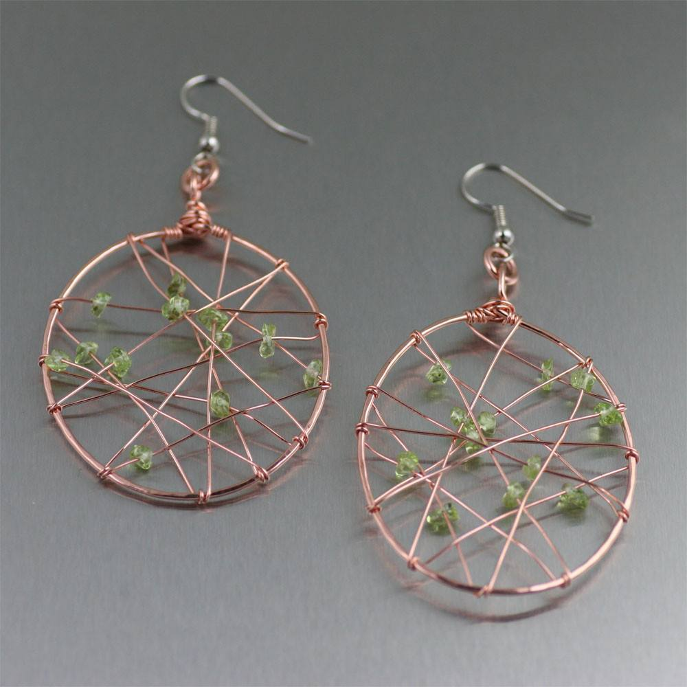 Copper Wire Wrapped Drop Earrings with Peridot - johnsbrana