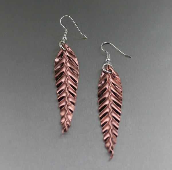 Earrings - Corrugated Copper Leaf Earrings