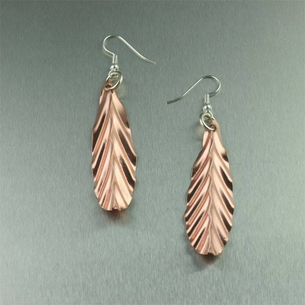 Corrugated Copper Shield Earrings - johnsbrana