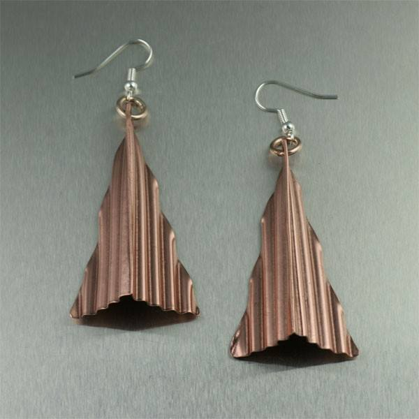 Corrugated Copper Triangle Earrings - johnsbrana