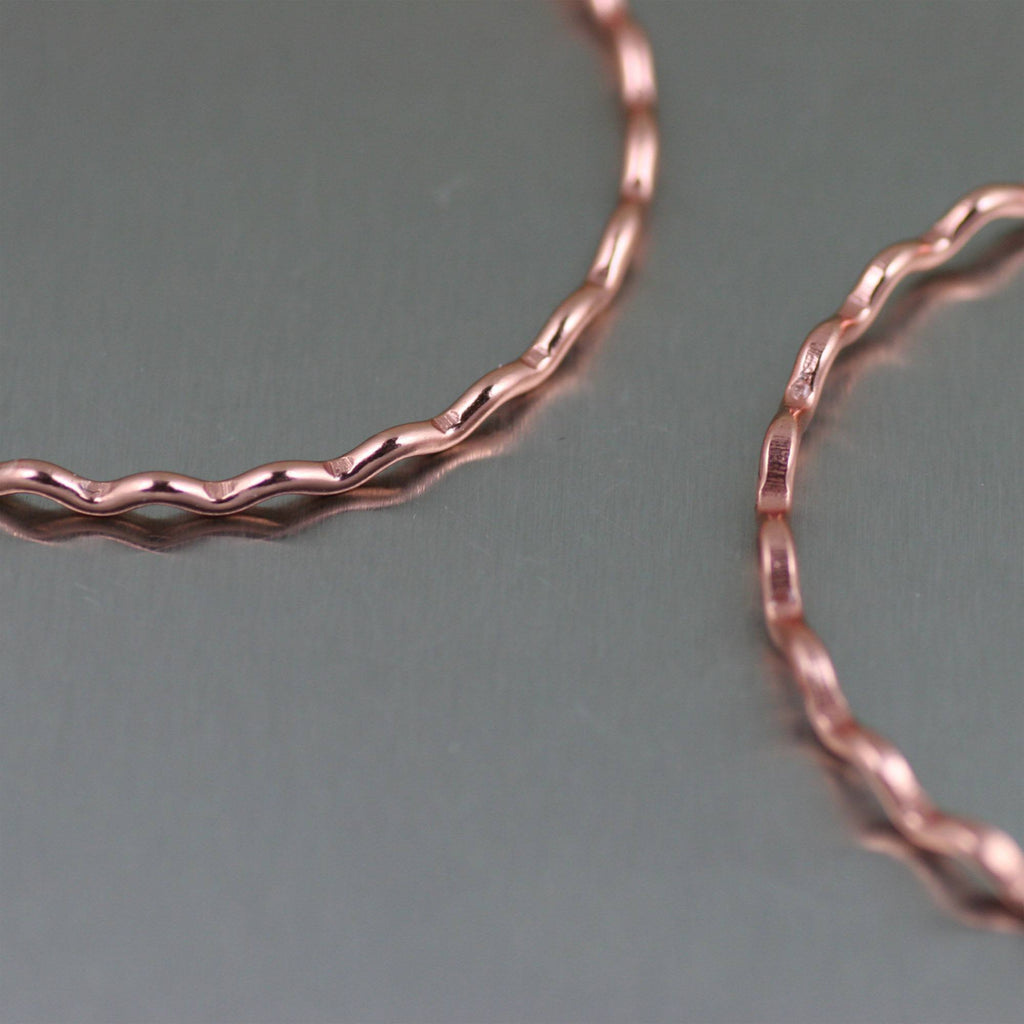Earrings - Fine Corrugated Copper Hoop Earrings