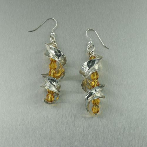 Earrings - Fine Silver Fold Formed Leaf Earrings With Amber