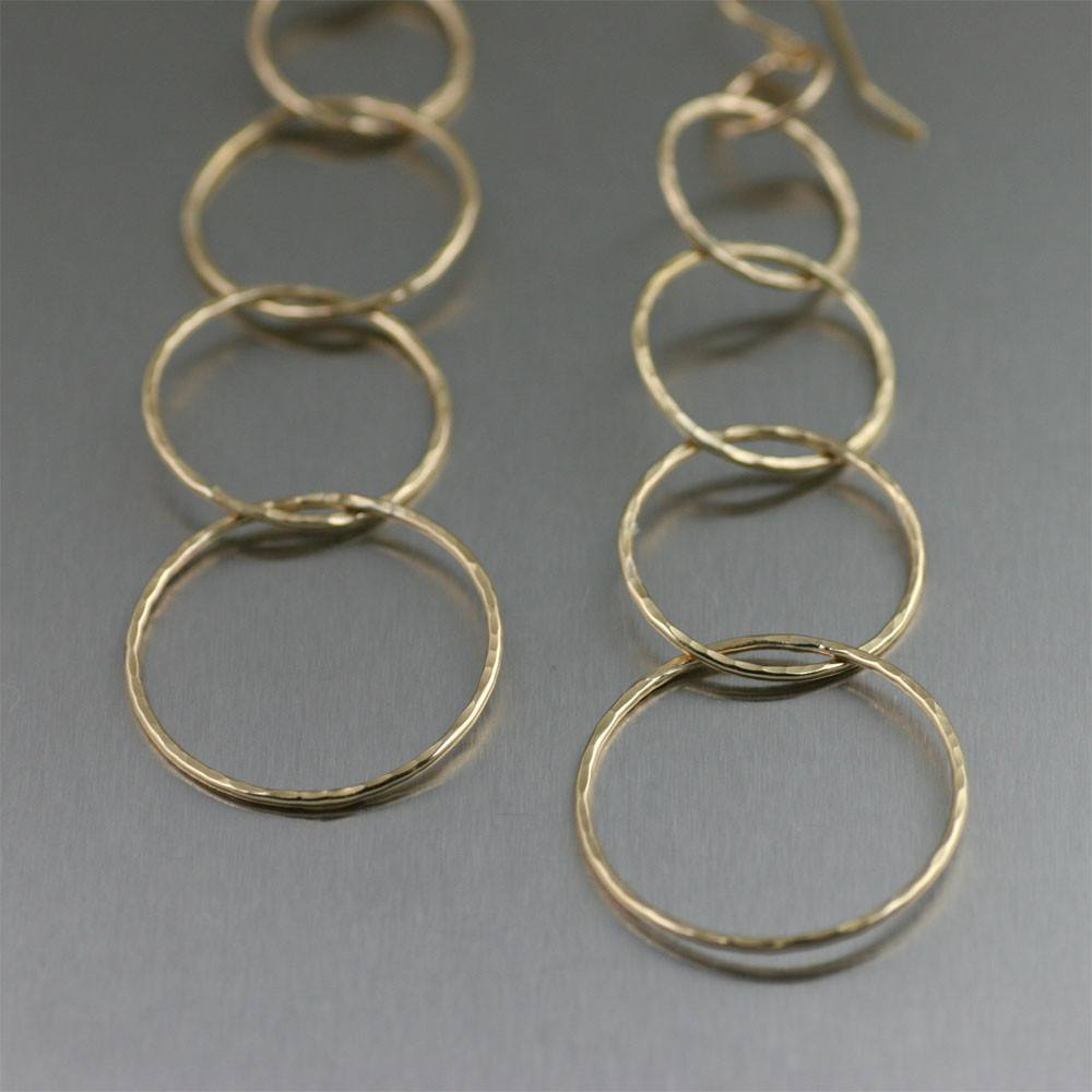 Earrings - Five Tiered Hammered Nu Gold Brass Chandelier Earrings