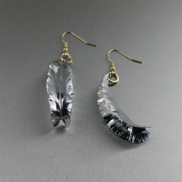 Fold Formed Aluminum Leaf Drop Earrings - johnsbrana - 1