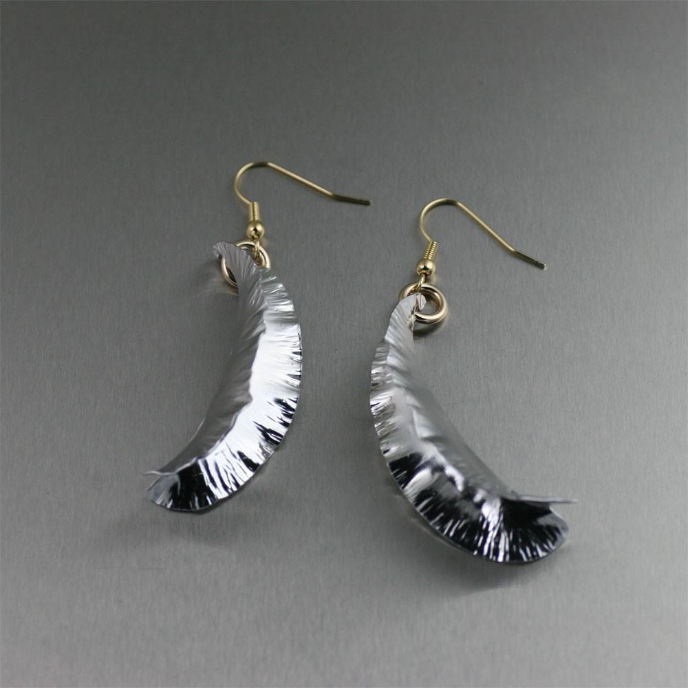 Fold Formed Aluminum Leaf Drop Earrings - johnsbrana - 2