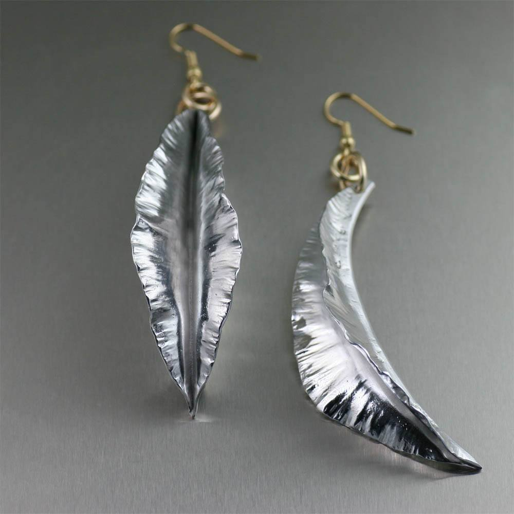 Earrings - Fold Formed Aluminum Leaf Earrings