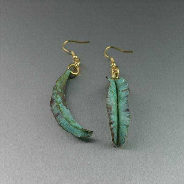 Earrings - Fold Formed Apple Green Copper Leaf Earrings