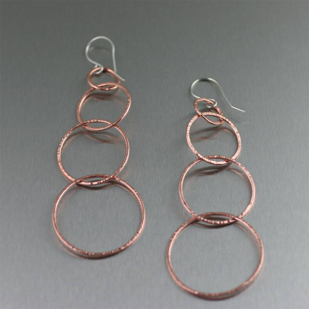 Four-tiered Chased Copper Chandelier Earrings - johnsbrana - 1