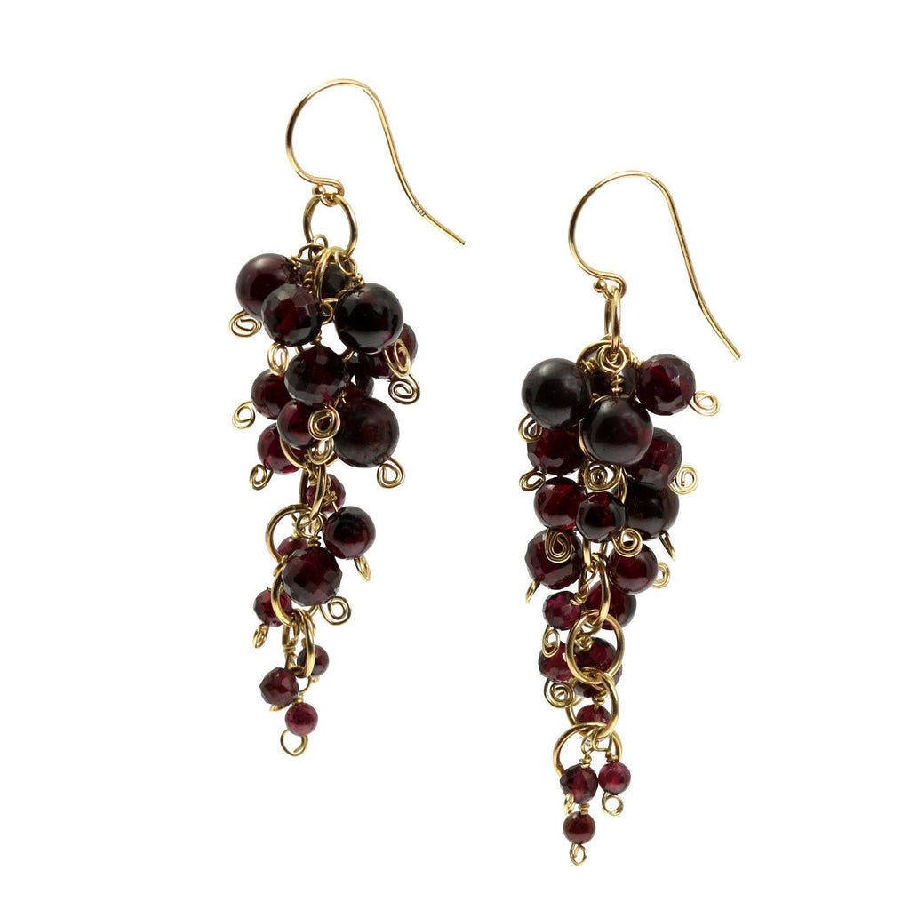 Garnet 14K Gold Chain Maille Earrings - johnsbrana - 1