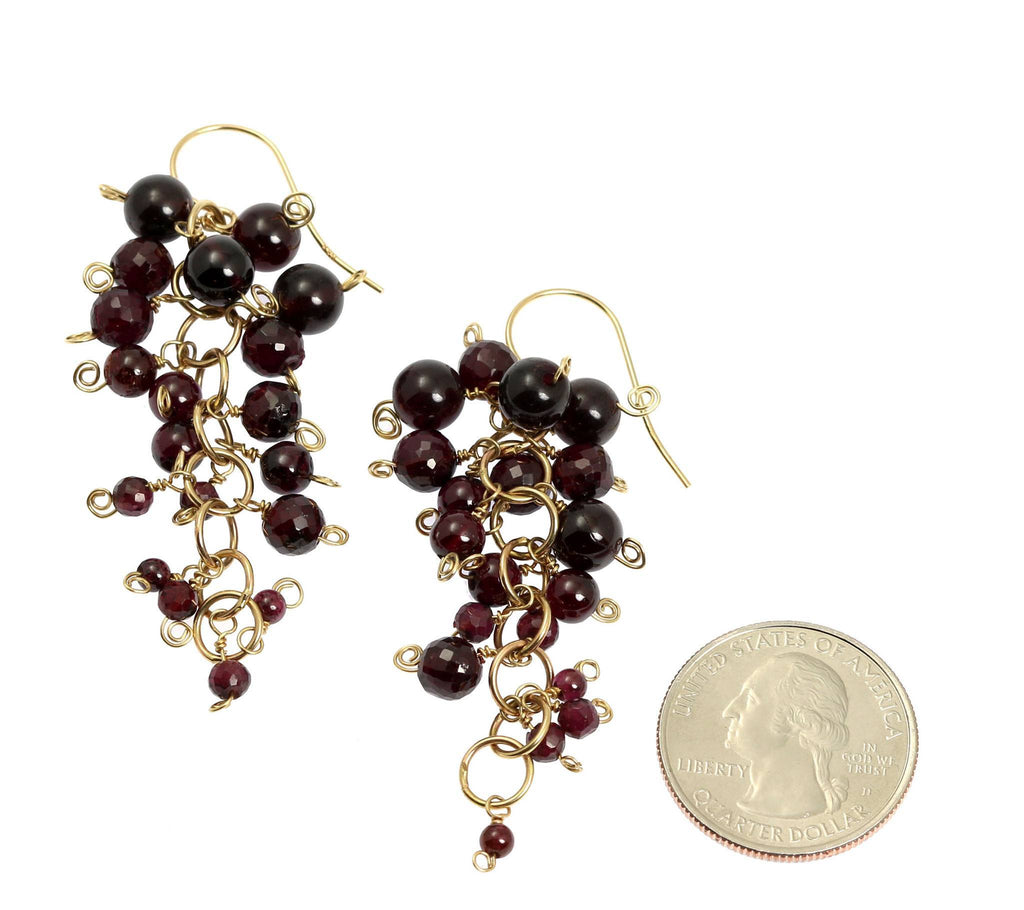 Garnet 14K Gold Chain Maille Earrings - johnsbrana - 2