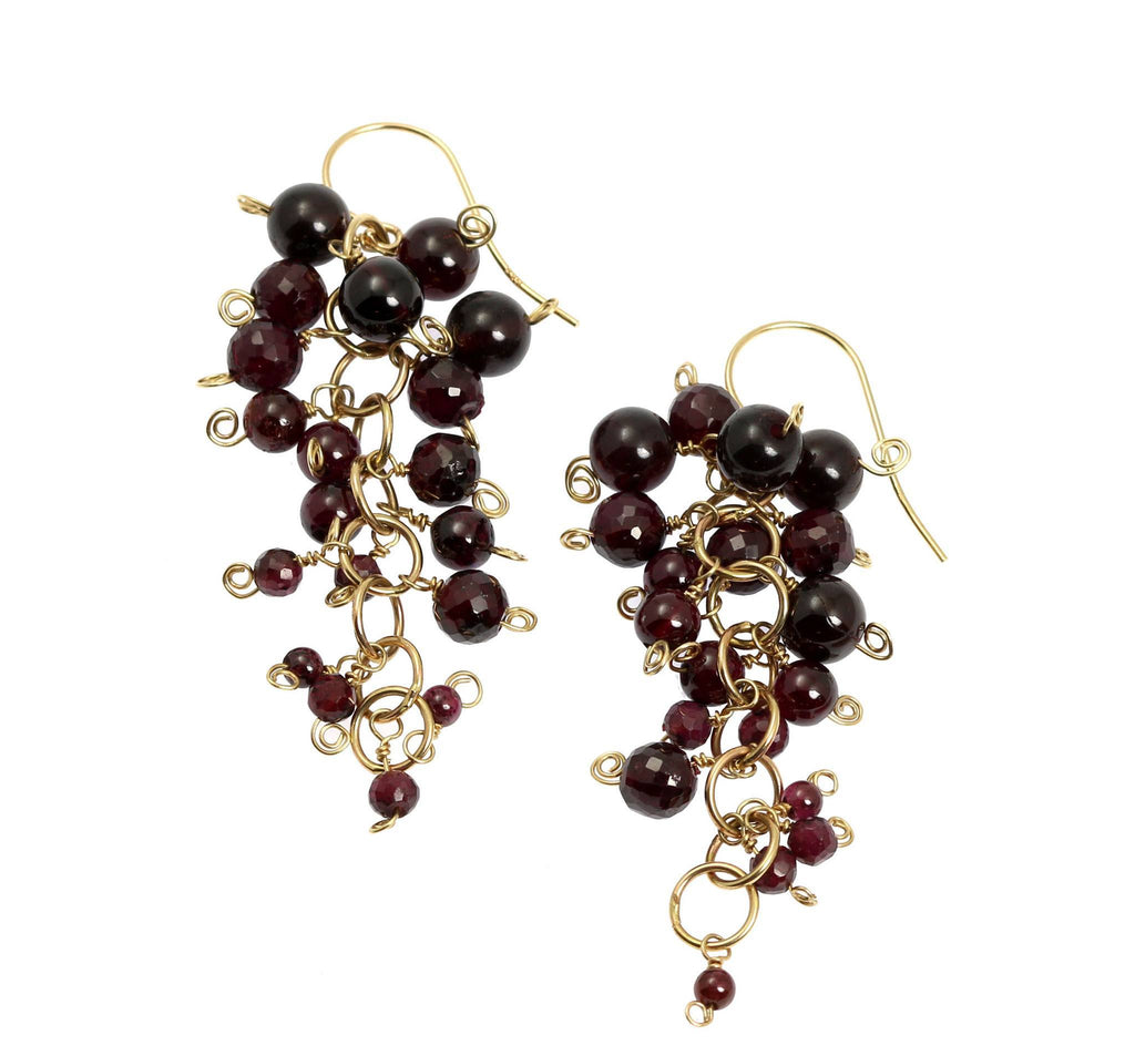 Garnet 14K Gold Chain Maille Earrings - johnsbrana - 3