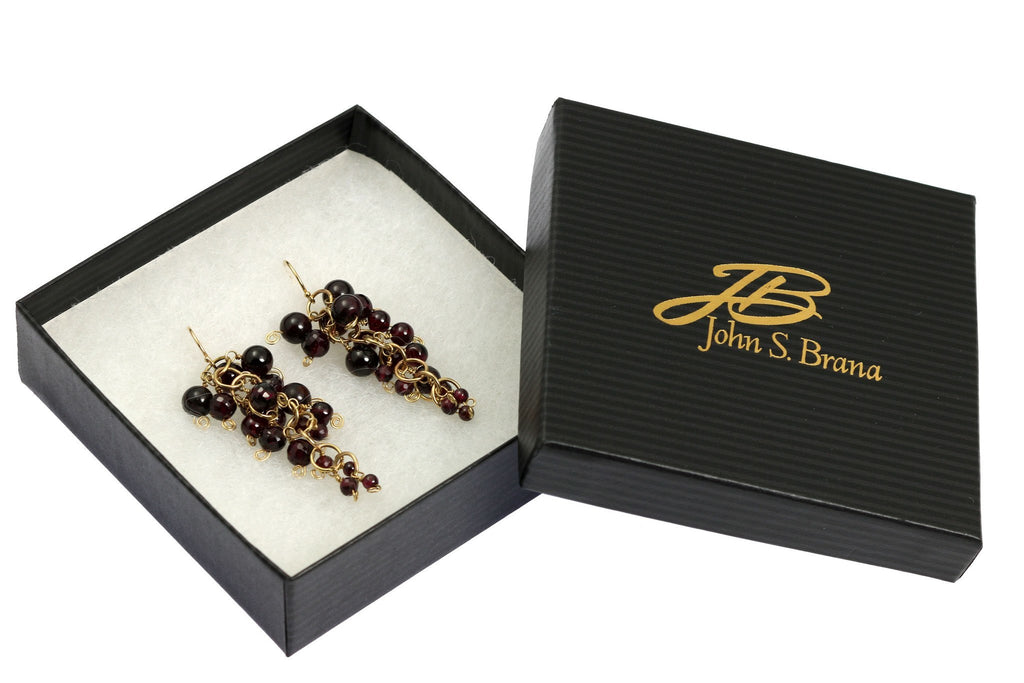 Garnet 14K Gold Chain Maille Earrings - johnsbrana - 4