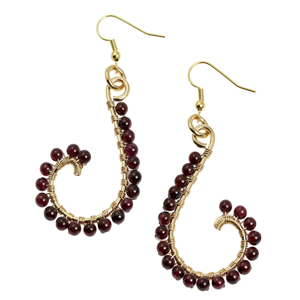Garnet Wire Wrapped 14K Gold-filled Earrings - johnsbrana - 1