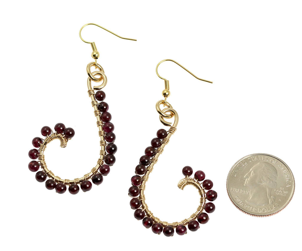 Garnet Wire Wrapped 14K Gold-filled Earrings - johnsbrana - 2