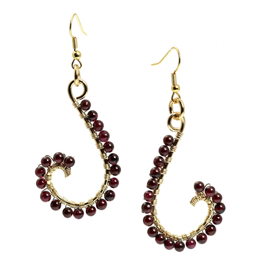 Garnet Wire Wrapped 14K Gold-filled Earrings - johnsbrana - 3
