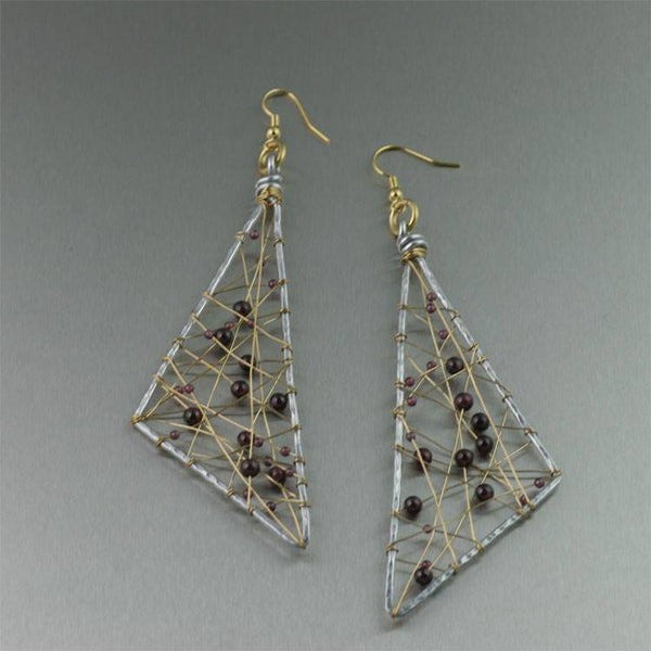 Garnet Wire Wrapped Aluminum Geometric Earrings - Large - johnsbrana