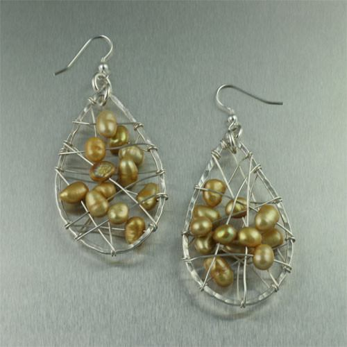 Earrings - Gold Freshwater Pearl Earrings