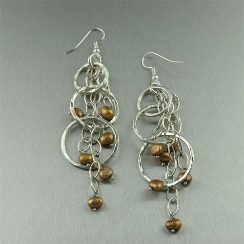 Gold Freshwater Pearl Fine Silver Earrings - johnsbrana