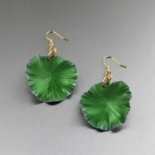 Green Anodized Aluminum Lily Pad Earrings - Medium - johnsbrana