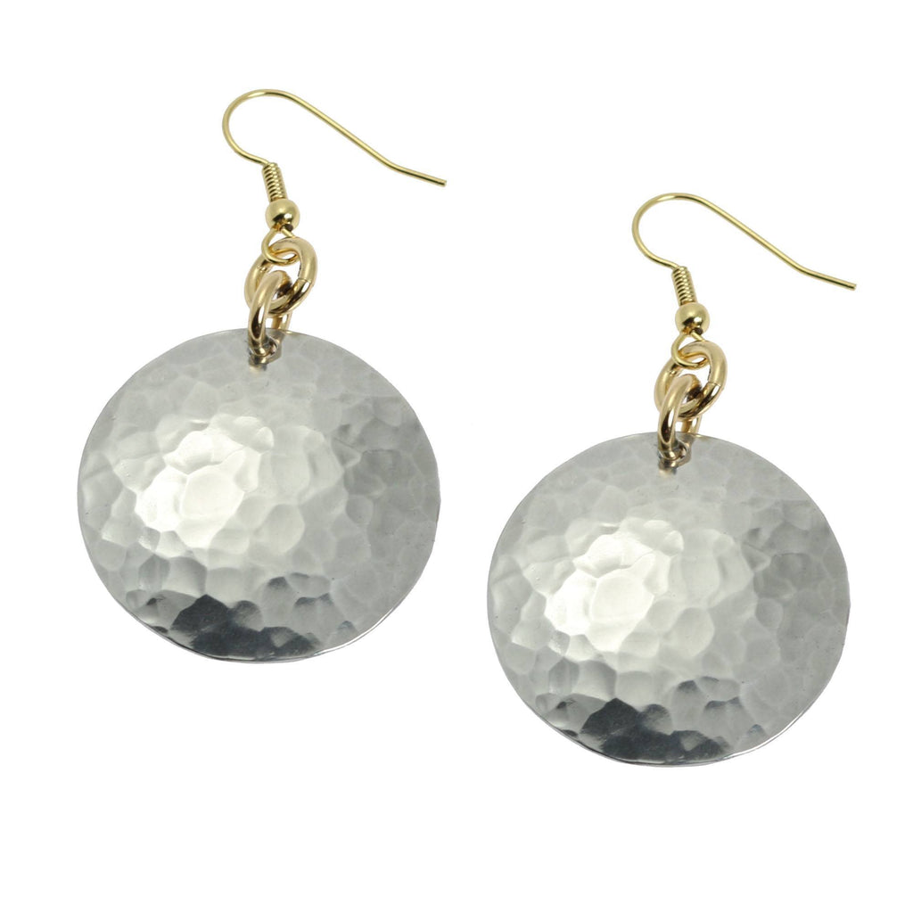 Hammered Aluminum Disc Earrings - johnsbrana - 1