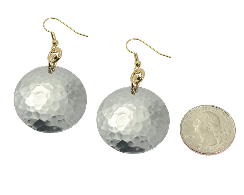 Hammered Aluminum Disc Earrings - johnsbrana - 2