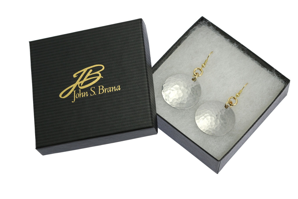 Hammered Aluminum Disc Earrings - johnsbrana - 3