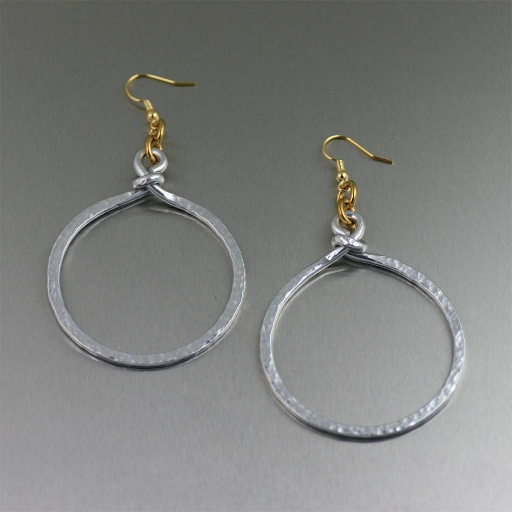Earrings - Hammered Aluminum Hoop Earrings