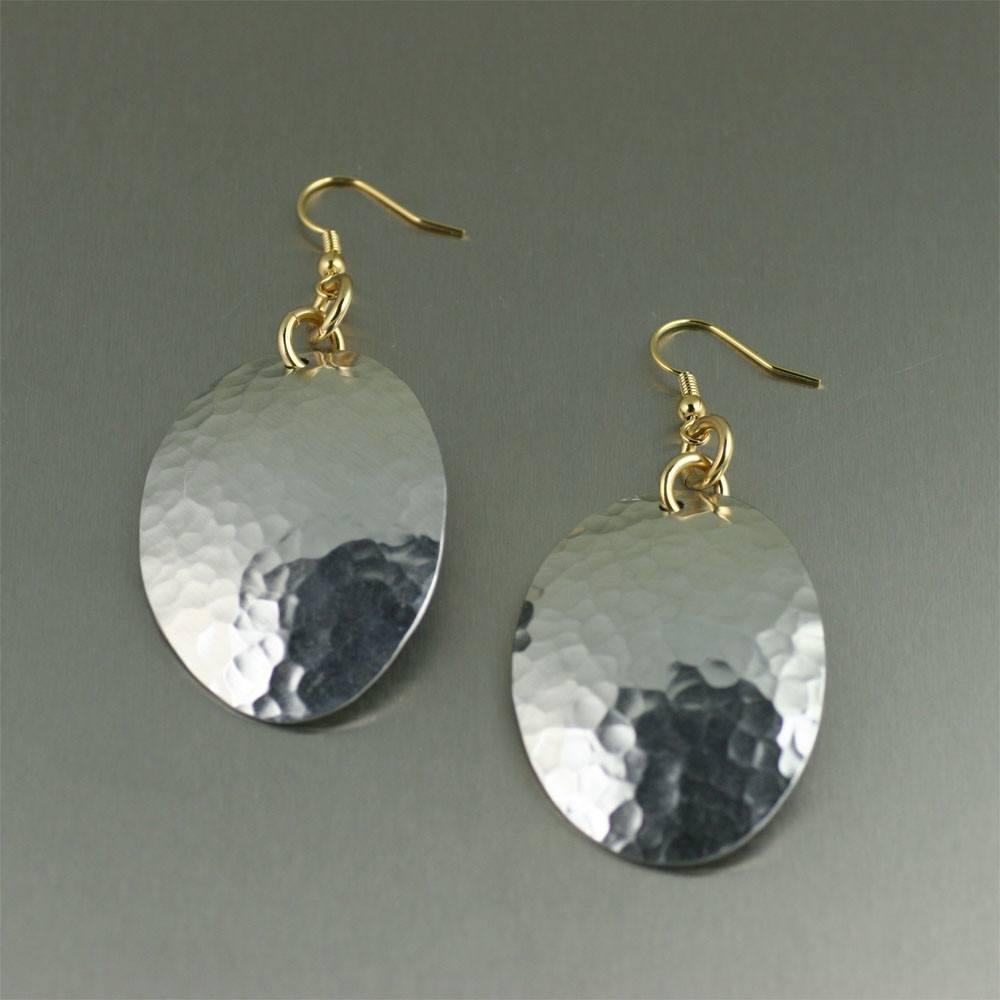 Hammered Aluminum Oval Earrings - johnsbrana